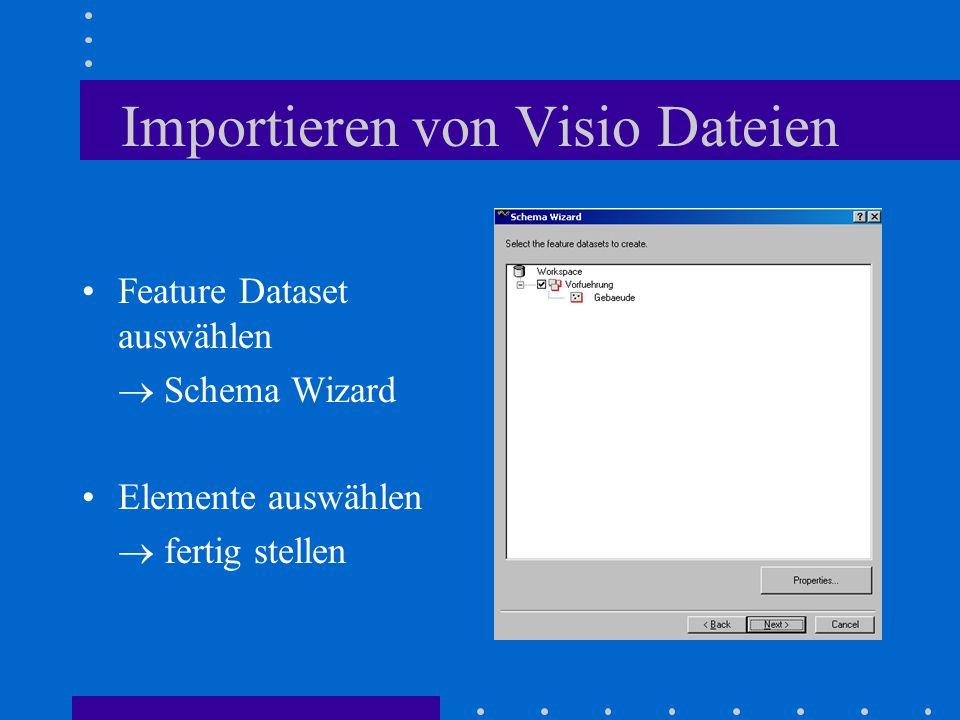 Importieren von Visio Dateien Feature Dataset auswählen  Schema Wizard Elemente auswählen  fertig stellen