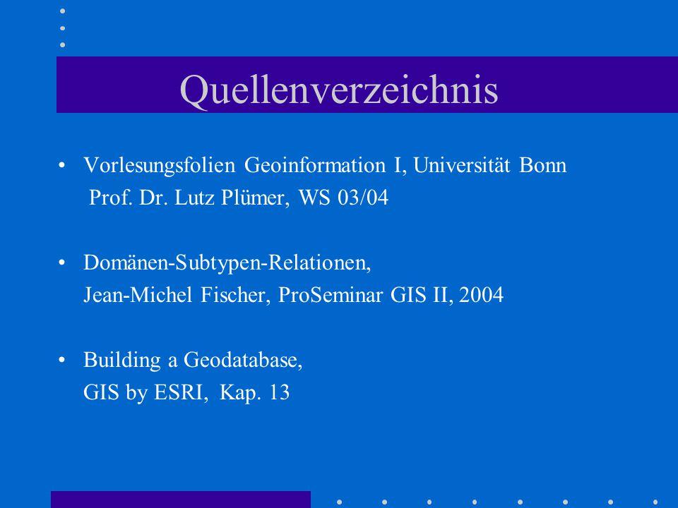 Quellenverzeichnis Vorlesungsfolien Geoinformation I, Universität Bonn Prof.