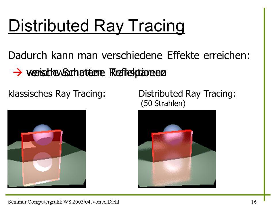 Seminar Computergrafik WS 2003/04, von A.Diehl16 Distributed Ray Tracing Dadurch kann man verschiedene Effekte erreichen:  weiche Schatten klassisches Ray Tracing:  verschwommene Reflektionen  verschwommene Transparenz Distributed Ray Tracing: (50 Strahlen)