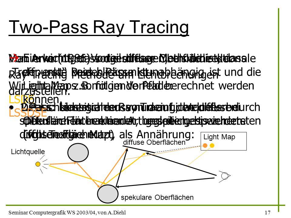 Seminar Computergrafik WS 2003/04, von A.Diehl17 Two-Pass Ray Tracing Von Arvo (1986) vorgeschlagen, als bidirektionale Ray Tracing Methode um Lichtbrechungen darzustellen.