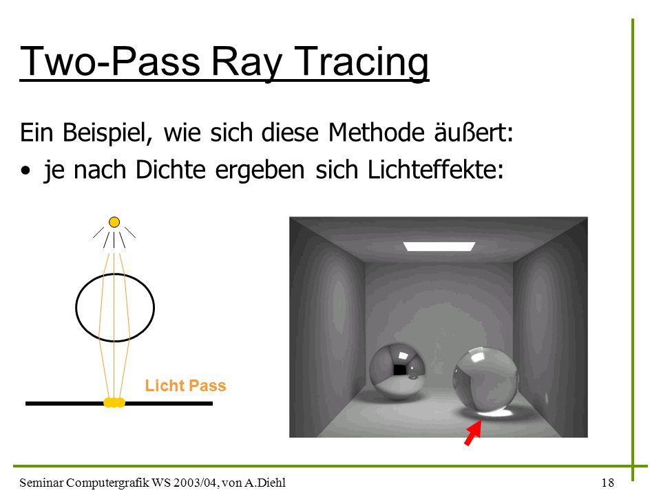 Seminar Computergrafik WS 2003/04, von A.Diehl18 Two-Pass Ray Tracing Ein Beispiel, wie sich diese Methode äußert: je nach Dichte ergeben sich Lichteffekte: Licht Pass