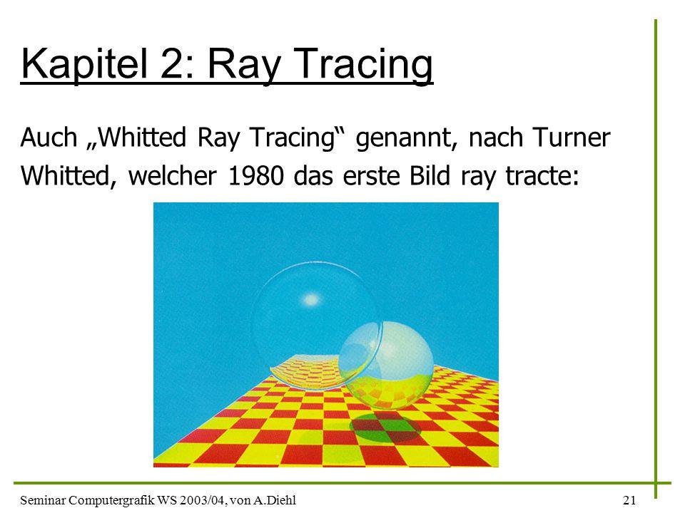 """Seminar Computergrafik WS 2003/04, von A.Diehl21 Kapitel 2: Ray Tracing Auch """"Whitted Ray Tracing genannt, nach Turner Whitted, welcher 1980 das erste Bild ray tracte:"""