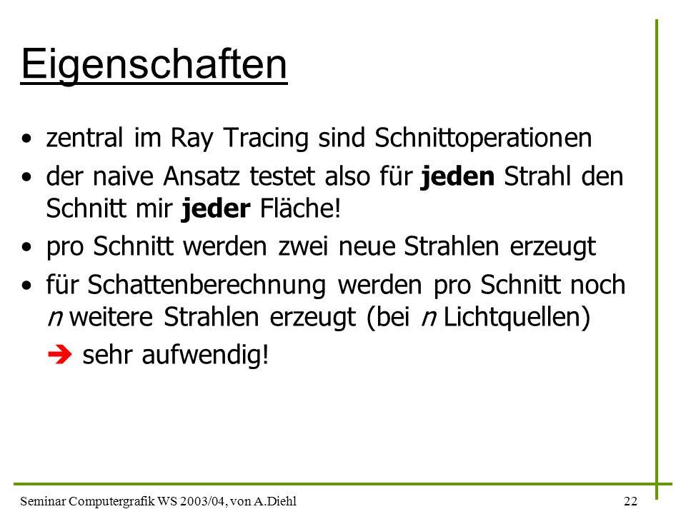 Seminar Computergrafik WS 2003/04, von A.Diehl22 Eigenschaften zentral im Ray Tracing sind Schnittoperationen der naive Ansatz testet also für jeden Strahl den Schnitt mir jeder Fläche.