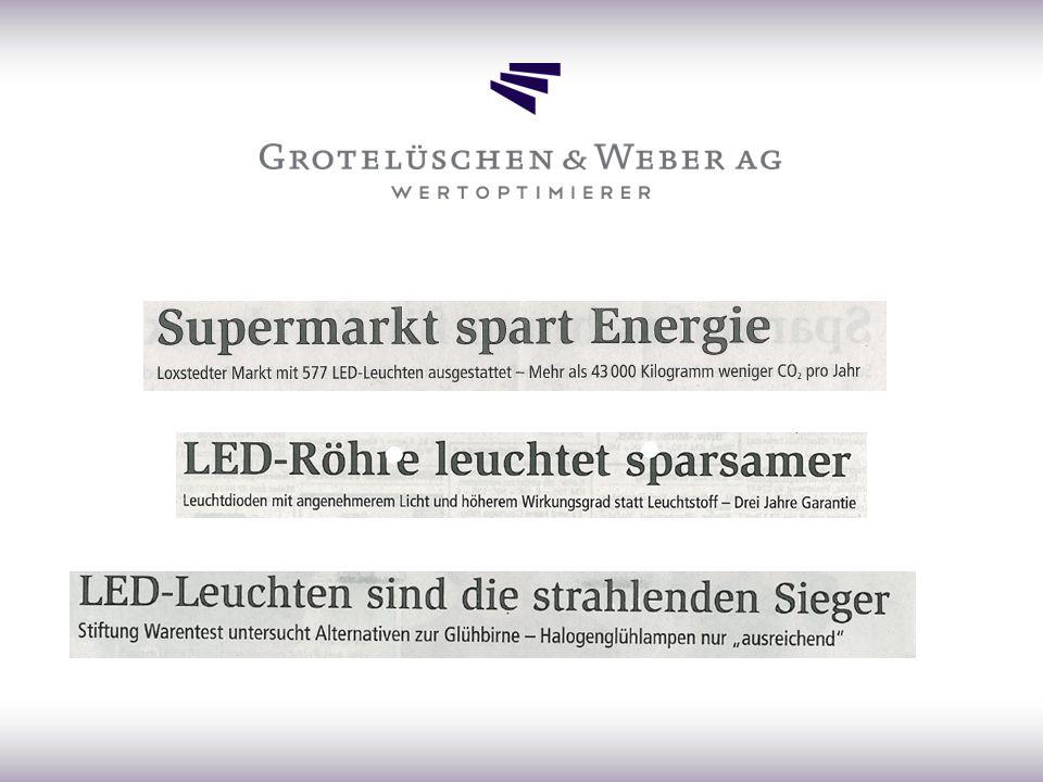 Vorteile der LED – Beleuchtung lange Lebensdauer Betrieb mit Gleich und Wechselspannung keine schädliche IR oder UV-Strahlung kein Sondermüll Beständig bei Erschütterungen vielfältige Bauweise effiziente Energieausbeute innovative Lichtgestaltung möglich enorme Einsparung von Energiekosten