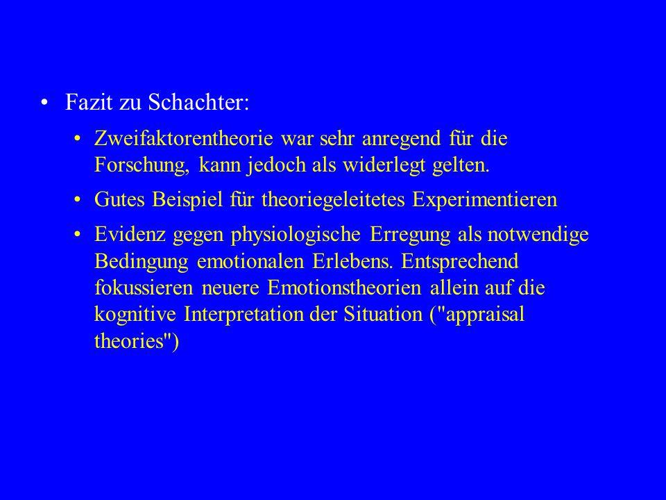 Fazit zu Schachter: Zweifaktorentheorie war sehr anregend für die Forschung, kann jedoch als widerlegt gelten. Gutes Beispiel für theoriegeleitetes Ex