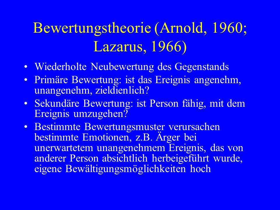 Bewertungstheorie (Arnold, 1960; Lazarus, 1966) Wiederholte Neubewertung des Gegenstands Primäre Bewertung: ist das Ereignis angenehm, unangenehm, zie