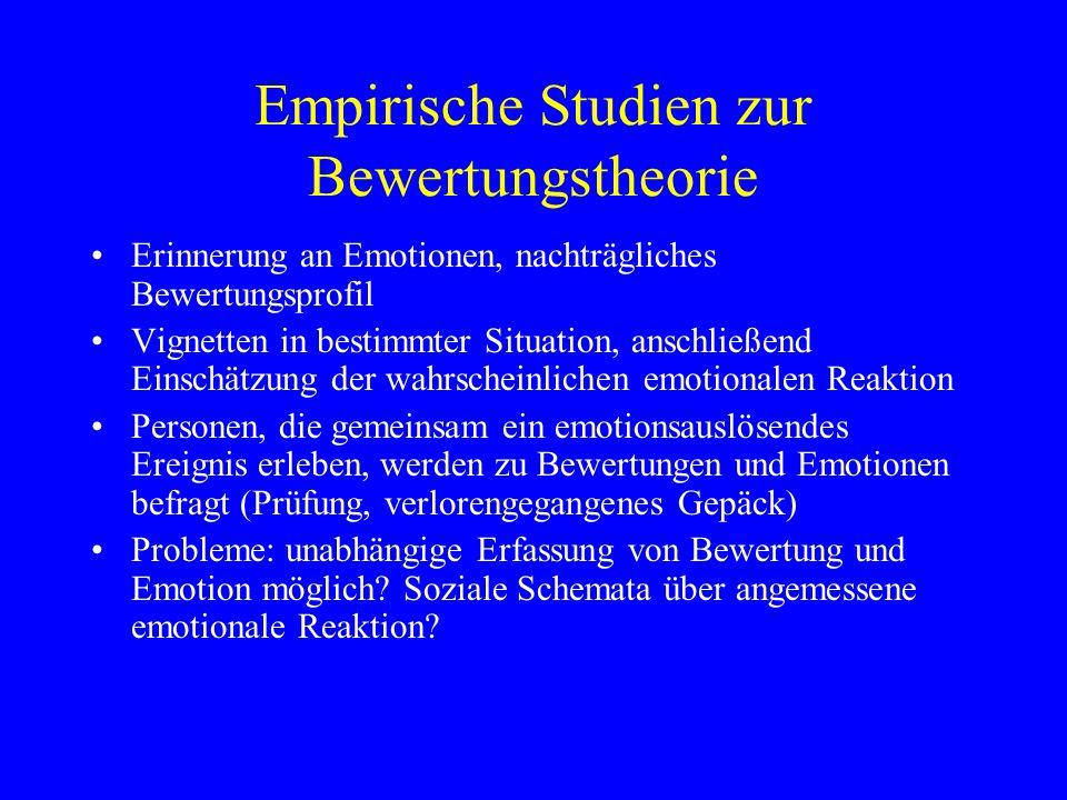 Empirische Studien zur Bewertungstheorie Erinnerung an Emotionen, nachträgliches Bewertungsprofil Vignetten in bestimmter Situation, anschließend Eins