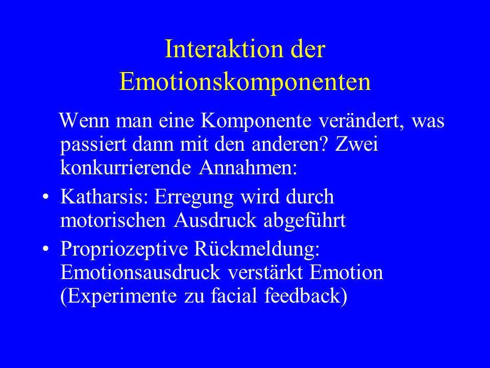 Interaktion der Emotionskomponenten Wenn man eine Komponente verändert, was passiert dann mit den anderen? Zwei konkurrierende Annahmen: Katharsis: Er