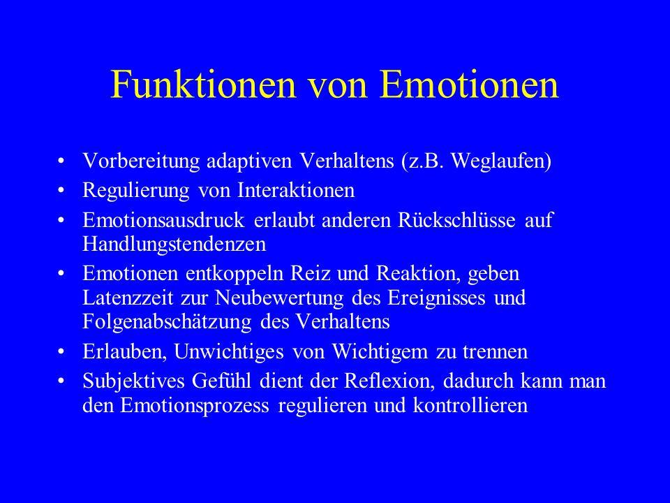 Funktionen von Emotionen Vorbereitung adaptiven Verhaltens (z.B. Weglaufen) Regulierung von Interaktionen Emotionsausdruck erlaubt anderen Rückschlüss