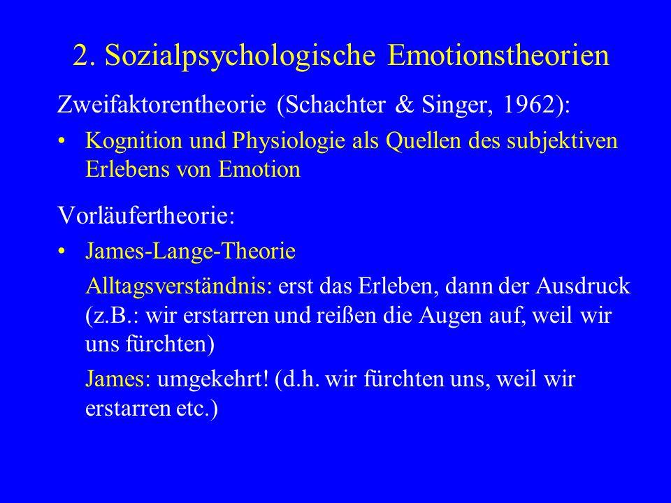 2. Sozialpsychologische Emotionstheorien Zweifaktorentheorie (Schachter & Singer, 1962): Kognition und Physiologie als Quellen des subjektiven Erleben