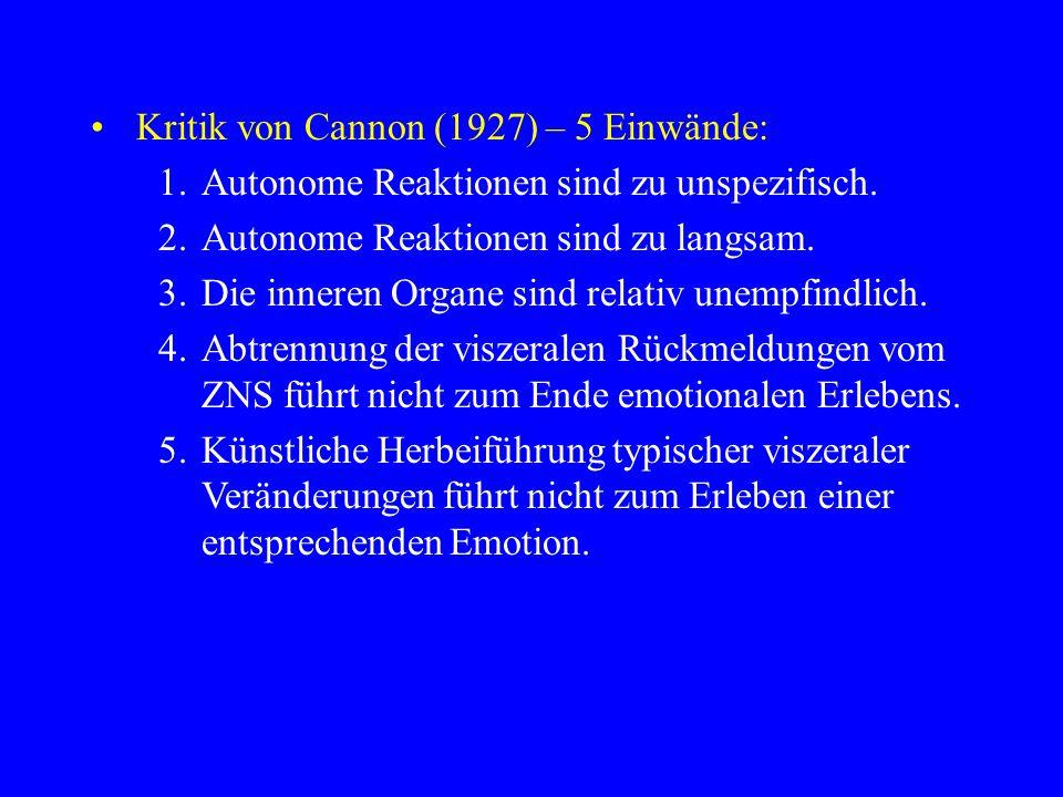 Kritik von Cannon (1927) – 5 Einwände: 1.Autonome Reaktionen sind zu unspezifisch. 2.Autonome Reaktionen sind zu langsam. 3.Die inneren Organe sind re