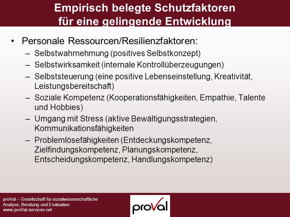 proVal – Gesellschaft für sozialwissenschaftliche Analyse, Beratung und Evaluation www.proVal-services.net Empirisch belegte Schutzfaktoren für eine g