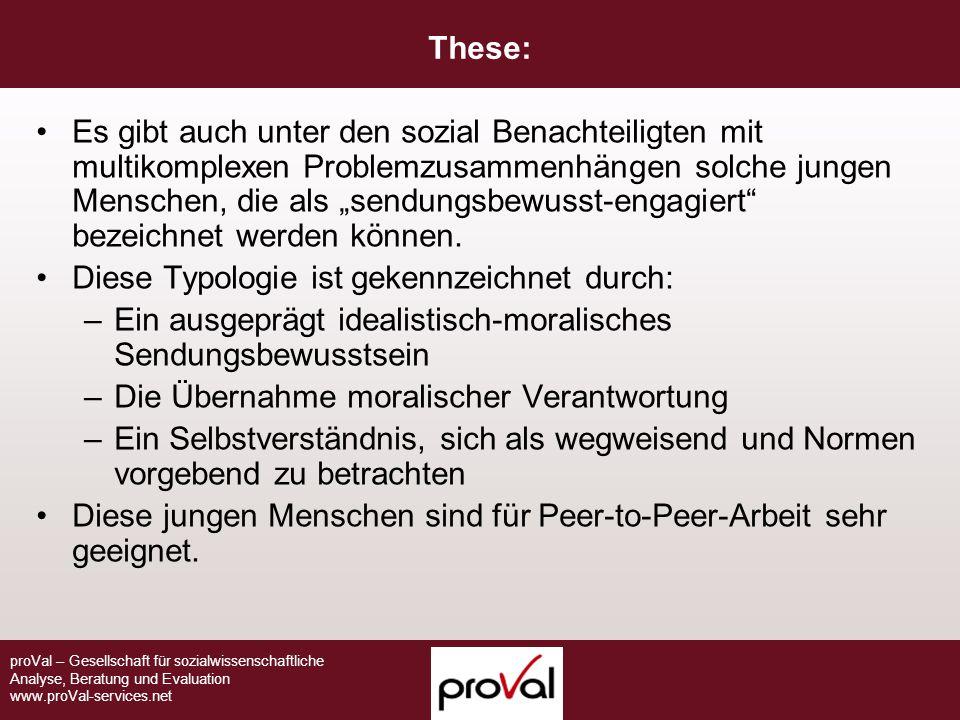 proVal – Gesellschaft für sozialwissenschaftliche Analyse, Beratung und Evaluation www.proVal-services.net These: Es gibt auch unter den sozial Benach