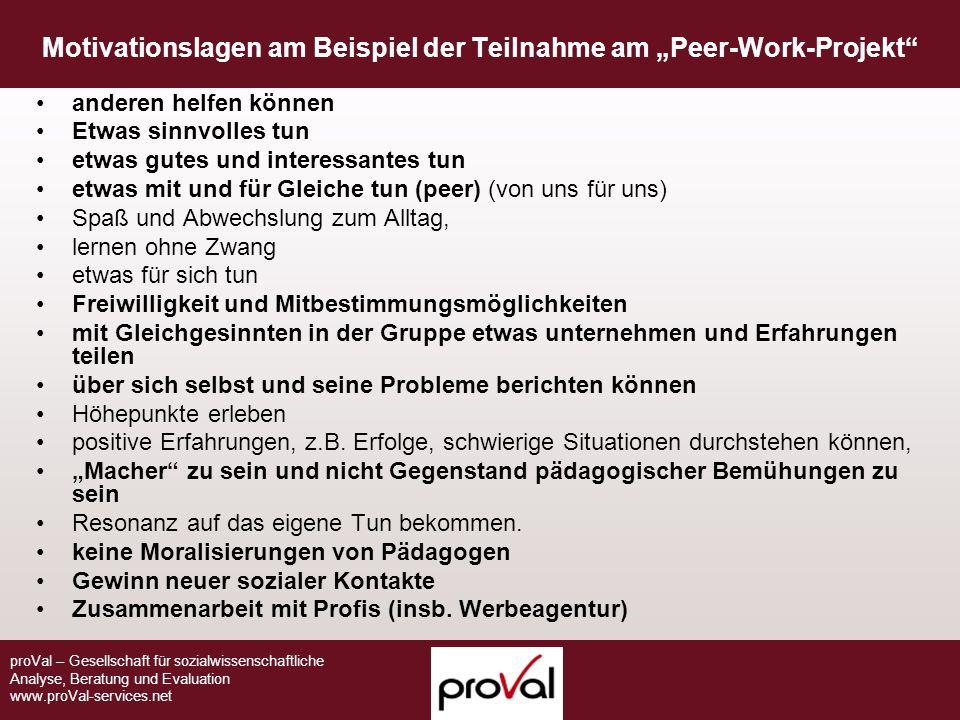 proVal – Gesellschaft für sozialwissenschaftliche Analyse, Beratung und Evaluation www.proVal-services.net Motivationslagen am Beispiel der Teilnahme