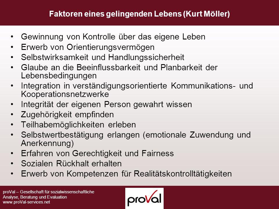 proVal – Gesellschaft für sozialwissenschaftliche Analyse, Beratung und Evaluation www.proVal-services.net Faktoren eines gelingenden Lebens (Kurt Möl