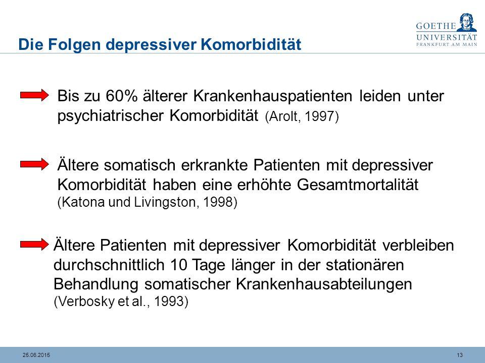 1325.06.2015 Die Folgen depressiver Komorbidität Bis zu 60% älterer Krankenhauspatienten leiden unter psychiatrischer Komorbidität (Arolt, 1997) Älter