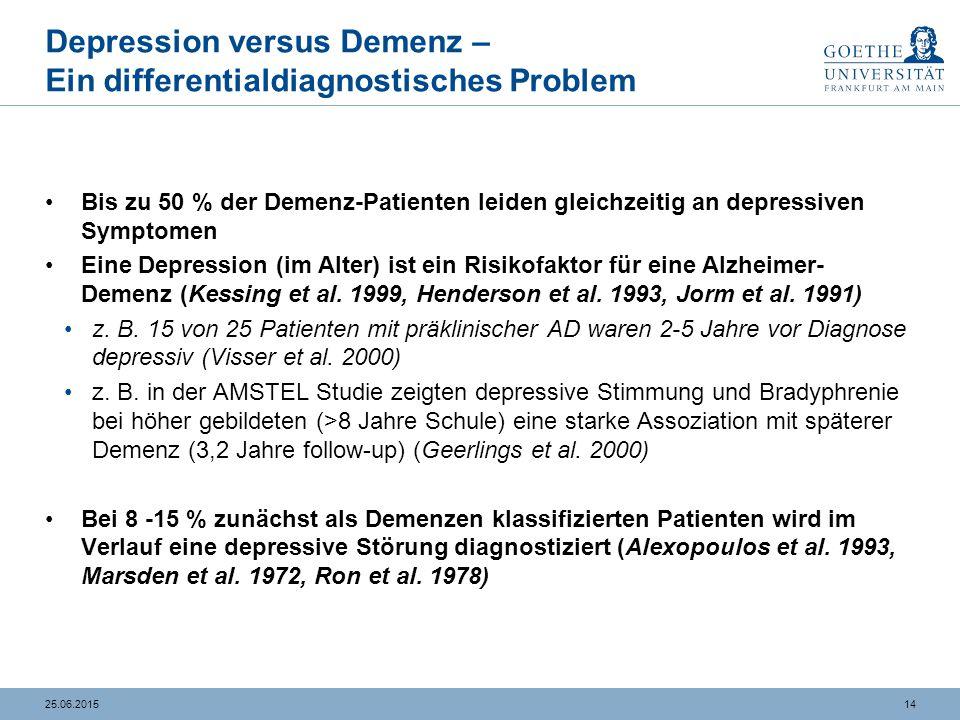 1425.06.2015 Depression versus Demenz – Ein differentialdiagnostisches Problem Bis zu 50 % der Demenz-Patienten leiden gleichzeitig an depressiven Sym