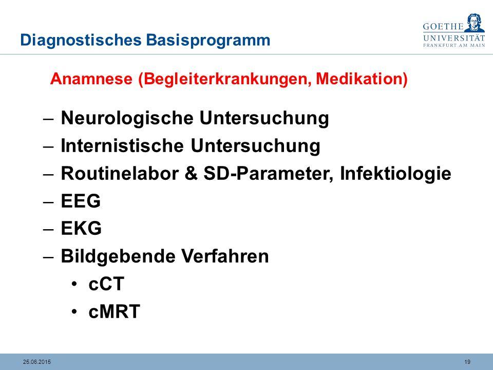 1925.06.2015 Diagnostisches Basisprogramm –Neurologische Untersuchung –Internistische Untersuchung –Routinelabor & SD-Parameter, Infektiologie –EEG –E