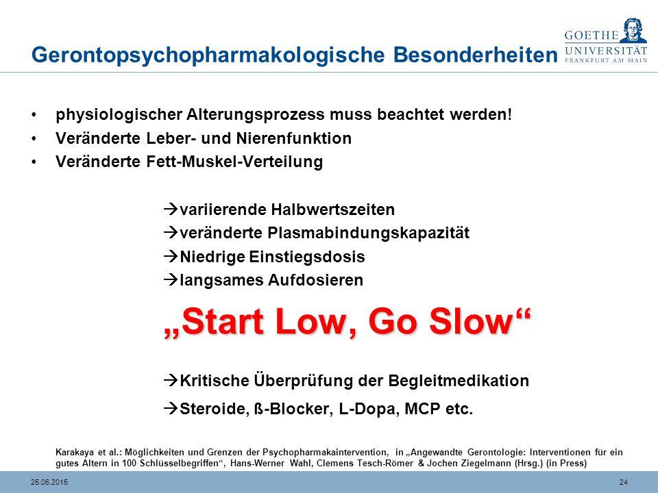 2425.06.2015 Gerontopsychopharmakologische Besonderheiten physiologischer Alterungsprozess muss beachtet werden! Veränderte Leber- und Nierenfunktion
