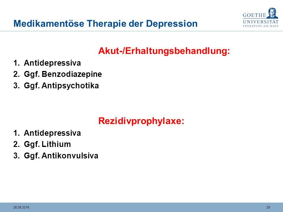 2825.06.2015 Medikamentöse Therapie der Depression Akut-/Erhaltungsbehandlung: 1.Antidepressiva 2.Ggf. Benzodiazepine 3.Ggf. Antipsychotika Rezidivpro