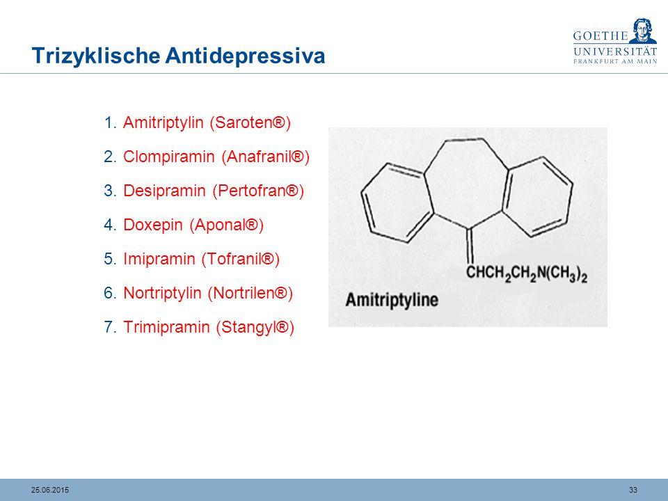 3325.06.2015 Trizyklische Antidepressiva 1.Amitriptylin (Saroten®) 2.Clompiramin (Anafranil®) 3.Desipramin (Pertofran®) 4.Doxepin (Aponal®) 5.Imiprami