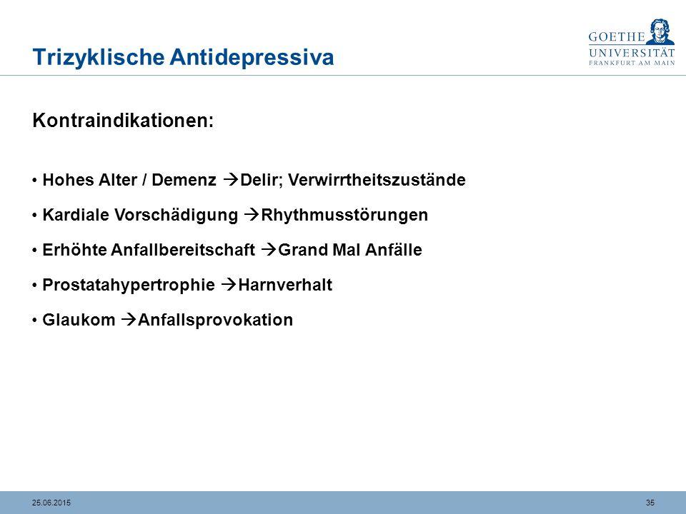 3525.06.2015 Trizyklische Antidepressiva Kontraindikationen: Hohes Alter / Demenz  Delir; Verwirrtheitszustände Kardiale Vorschädigung  Rhythmusstör