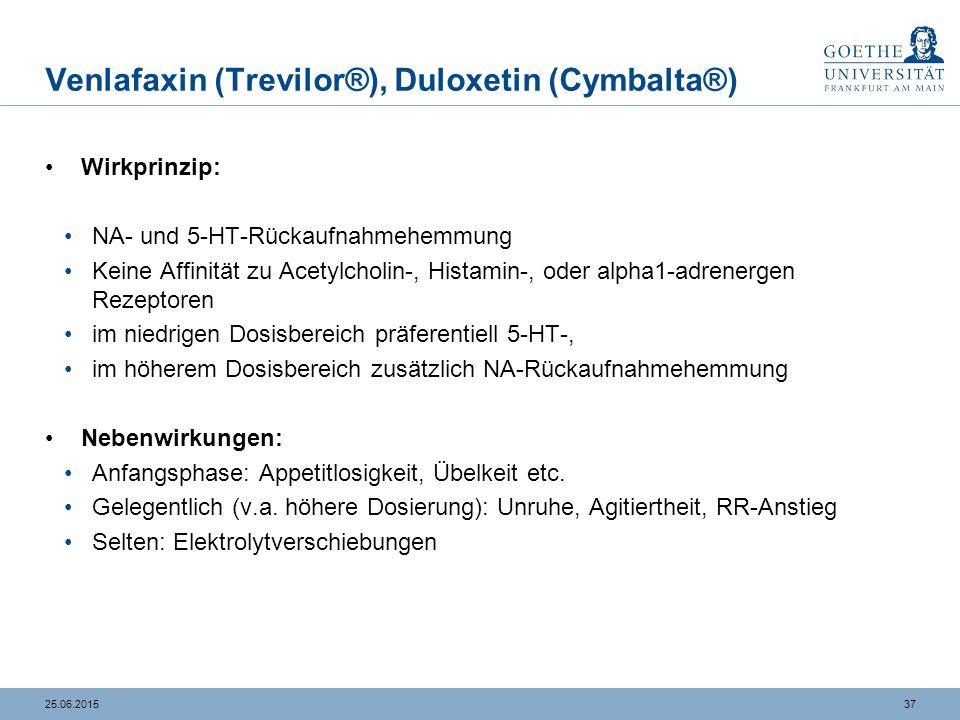 3725.06.2015 Venlafaxin (Trevilor®), Duloxetin (Cymbalta®) Wirkprinzip: NA- und 5-HT-Rückaufnahmehemmung Keine Affinität zu Acetylcholin-, Histamin-,