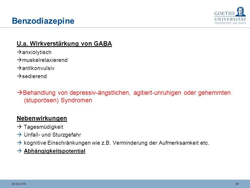 3925.06.2015 Benzodiazepine U.a. Wirkverstärkung von GABA  anxiolytisch  muskelrelaxierend  antikonvulsiv  sedierend  Behandlung von depressiv-än