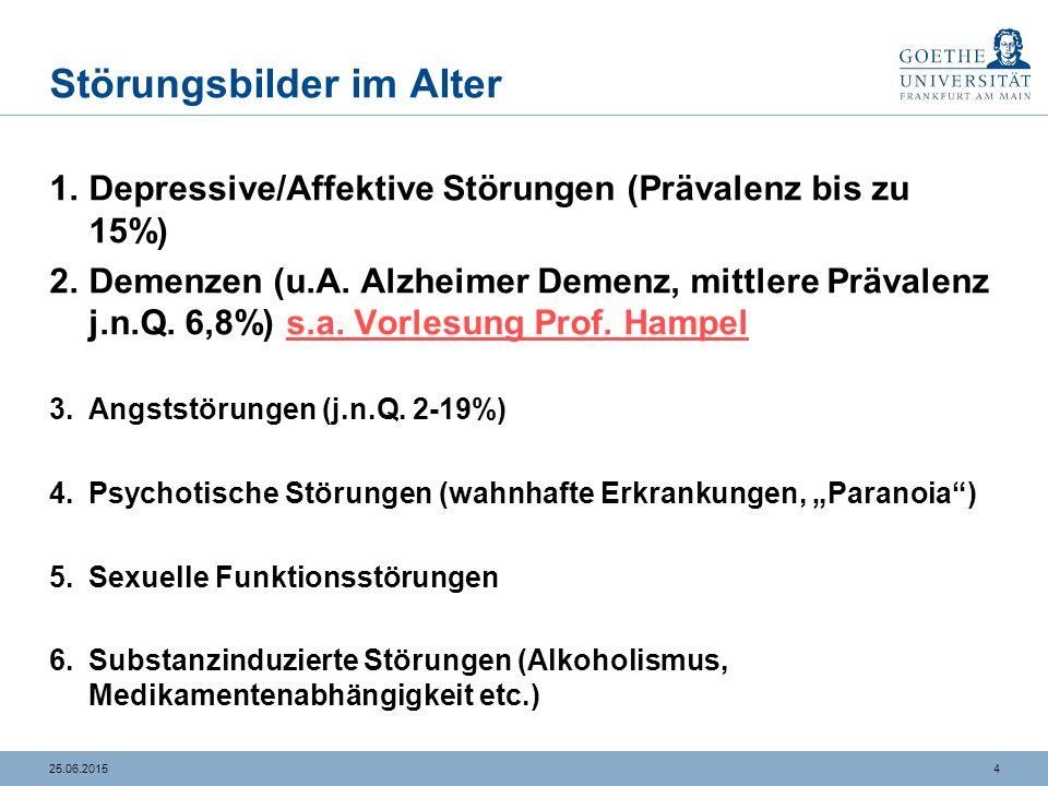 425.06.2015 Störungsbilder im Alter 1.Depressive/Affektive Störungen (Prävalenz bis zu 15%) 2.Demenzen (u.A. Alzheimer Demenz, mittlere Prävalenz j.n.