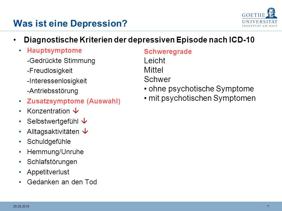 725.06.2015 Was ist eine Depression? Diagnostische Kriterien der depressiven Episode nach ICD-10 Hauptsymptome -Gedrückte Stimmung -Freudlosigkeit -In