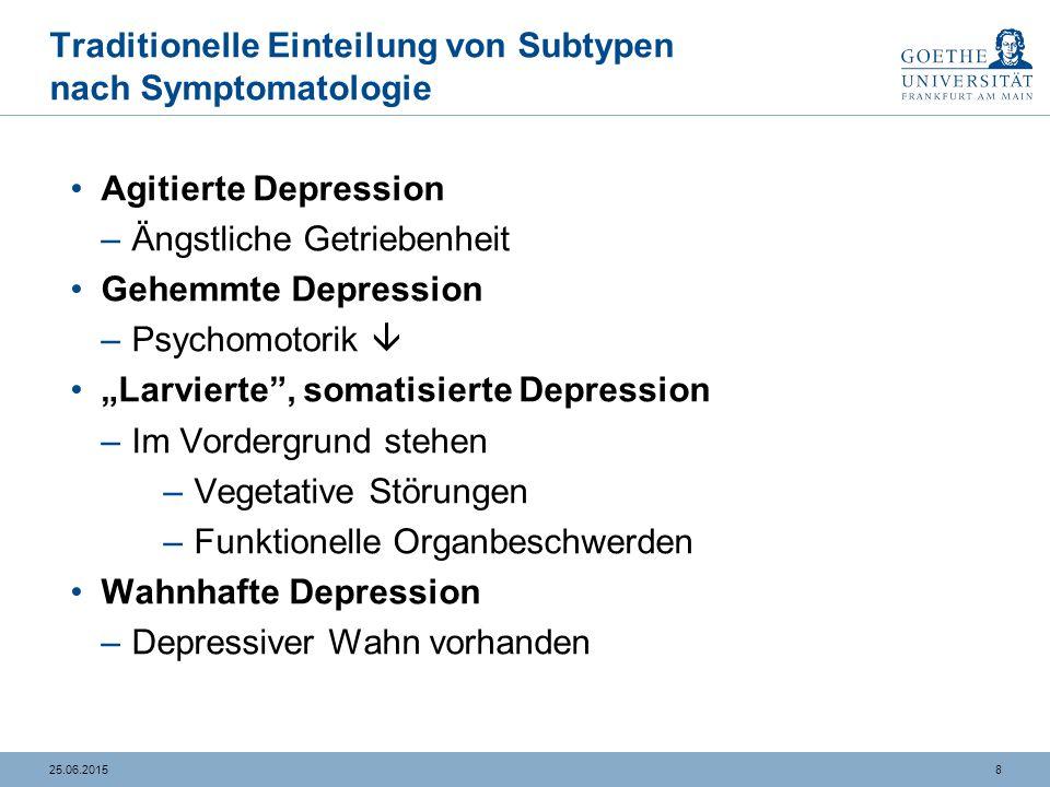 825.06.2015 Traditionelle Einteilung von Subtypen nach Symptomatologie Agitierte Depression –Ängstliche Getriebenheit Gehemmte Depression –Psychomotor