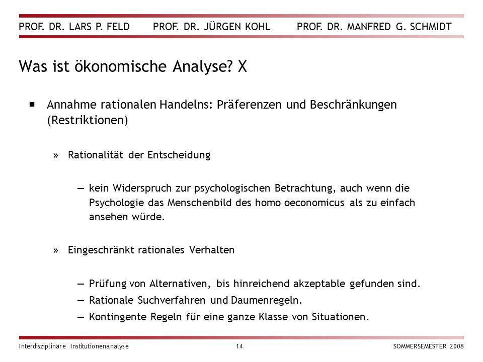 PROF. DR. LARS P. FELD PROF. DR. JÜRGEN KOHL PROF. DR. MANFRED G. SCHMIDT Interdisziplinäre Institutionenanalyse14SOMMERSEMESTER 2008 Was ist ökonomis