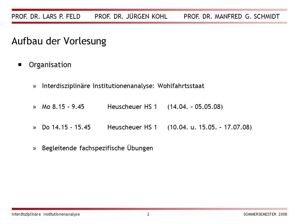 PROF. DR. LARS P. FELD PROF. DR. JÜRGEN KOHL PROF. DR. MANFRED G. SCHMIDT Interdisziplinäre Institutionenanalyse2SOMMERSEMESTER 2008 Aufbau der Vorles