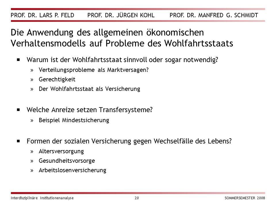 PROF. DR. LARS P. FELD PROF. DR. JÜRGEN KOHL PROF. DR. MANFRED G. SCHMIDT Interdisziplinäre Institutionenanalyse20SOMMERSEMESTER 2008 Die Anwendung de