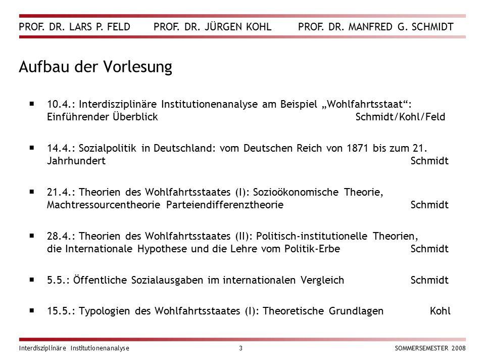 PROF. DR. LARS P. FELD PROF. DR. JÜRGEN KOHL PROF. DR. MANFRED G. SCHMIDT Interdisziplinäre Institutionenanalyse3SOMMERSEMESTER 2008 Aufbau der Vorles