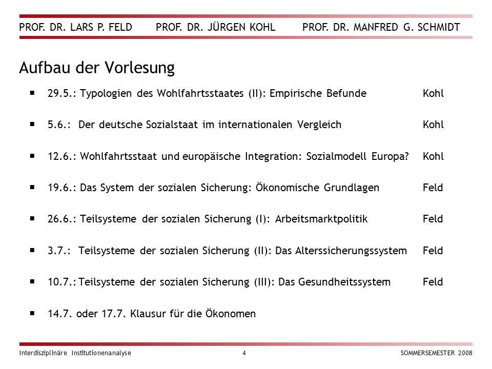 PROF. DR. LARS P. FELD PROF. DR. JÜRGEN KOHL PROF. DR. MANFRED G. SCHMIDT Interdisziplinäre Institutionenanalyse4SOMMERSEMESTER 2008 Aufbau der Vorles