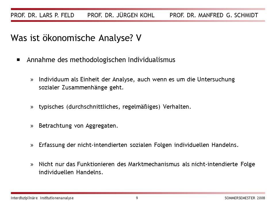PROF. DR. LARS P. FELD PROF. DR. JÜRGEN KOHL PROF. DR. MANFRED G. SCHMIDT Interdisziplinäre Institutionenanalyse9SOMMERSEMESTER 2008 Was ist ökonomisc