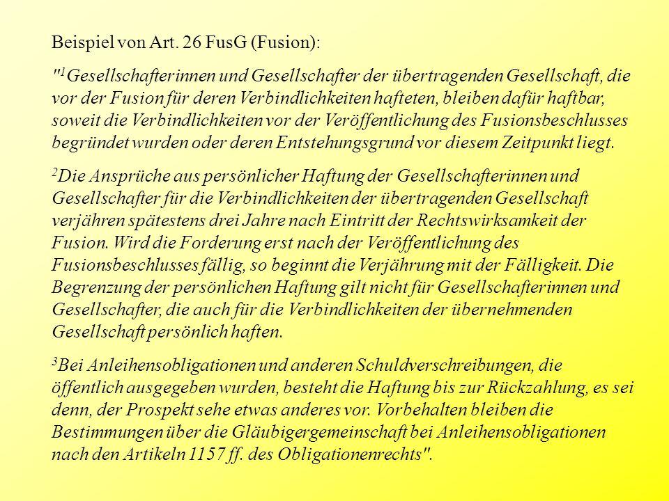 Beispiel von Art. 26 FusG (Fusion):