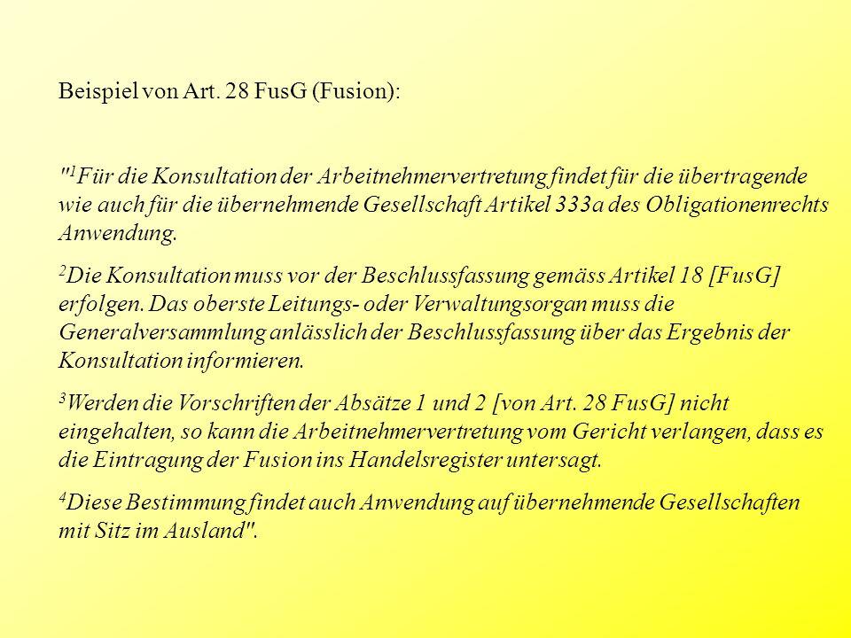 Beispiel von Art. 28 FusG (Fusion):