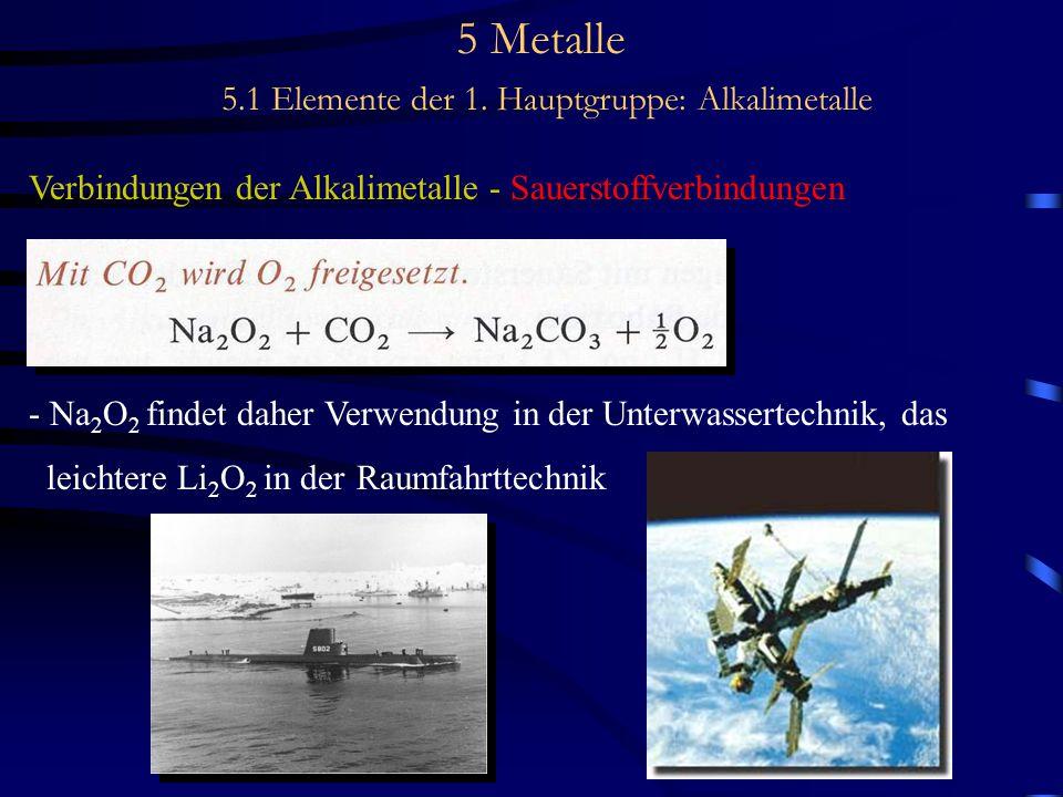 5 Metalle 5.1 Elemente der 1. Hauptgruppe: Alkalimetalle Verbindungen der Alkalimetalle - Sauerstoffverbindungen - Na 2 O 2 findet daher Verwendung in