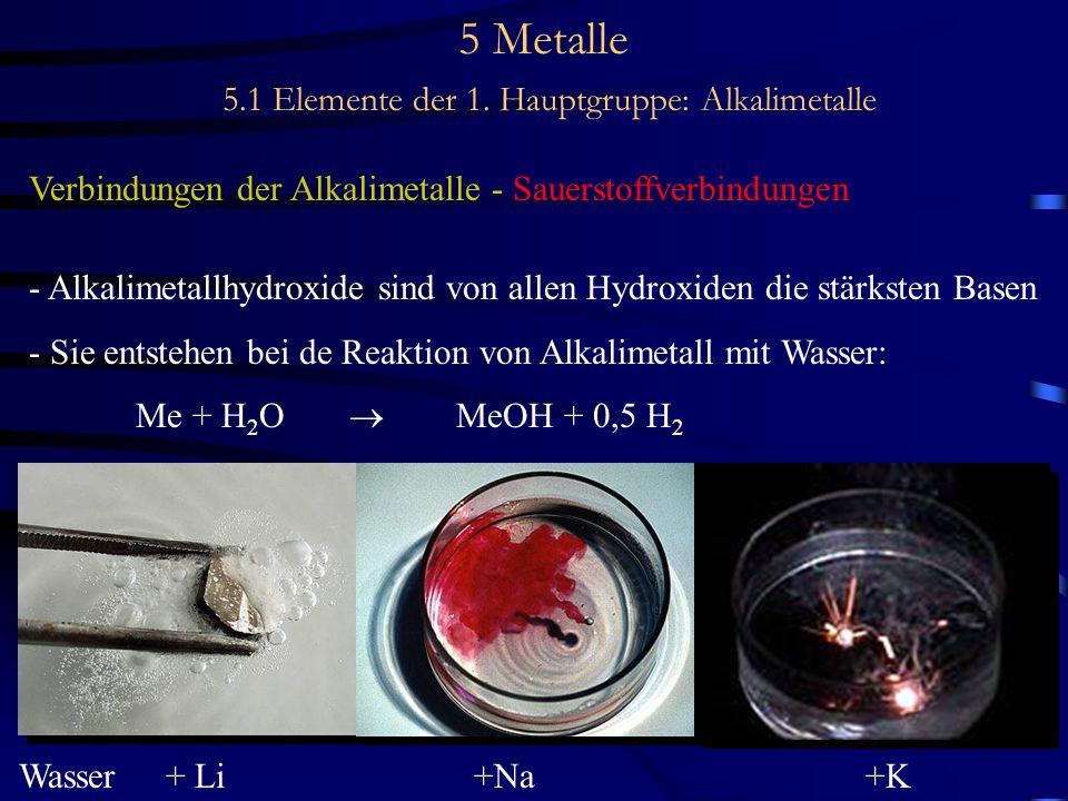5 Metalle 5.1 Elemente der 1. Hauptgruppe: Alkalimetalle Verbindungen der Alkalimetalle - Sauerstoffverbindungen - Alkalimetallhydroxide sind von alle