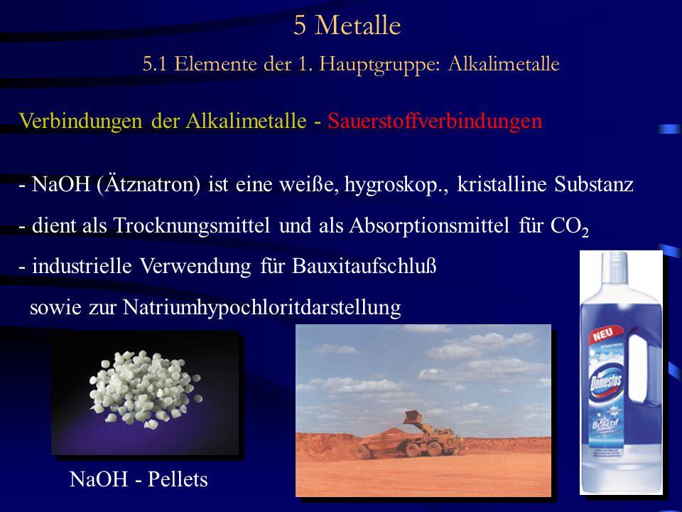 5 Metalle 5.1 Elemente der 1. Hauptgruppe: Alkalimetalle Verbindungen der Alkalimetalle - Sauerstoffverbindungen - NaOH (Ätznatron) ist eine weiße, hy