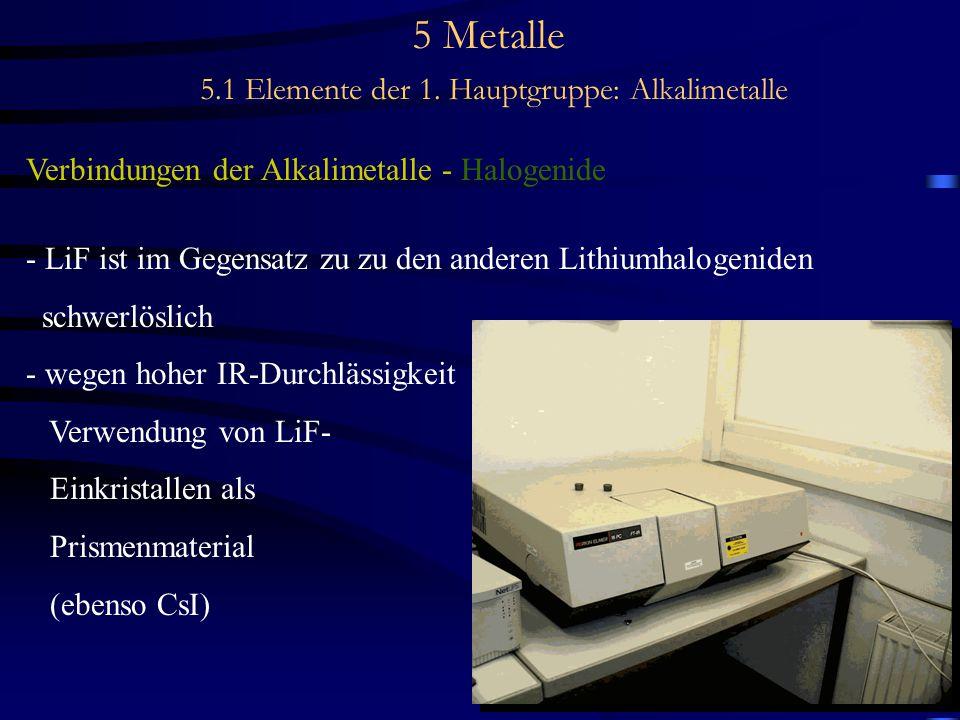 5 Metalle 5.1 Elemente der 1. Hauptgruppe: Alkalimetalle Verbindungen der Alkalimetalle - Halogenide - LiF ist im Gegensatz zu zu den anderen Lithiumh