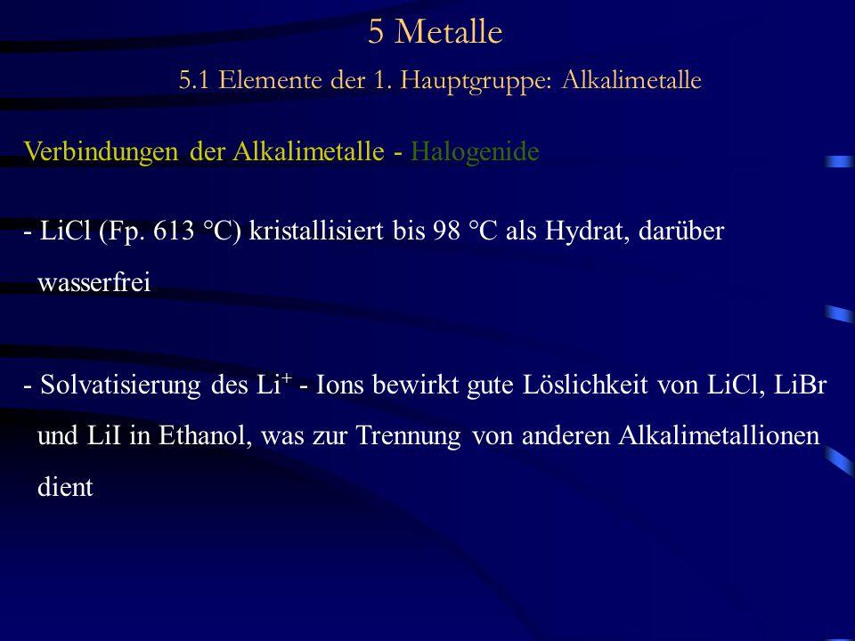 5 Metalle 5.1 Elemente der 1. Hauptgruppe: Alkalimetalle Verbindungen der Alkalimetalle - Halogenide - LiCl (Fp. 613 °C) kristallisiert bis 98 °C als