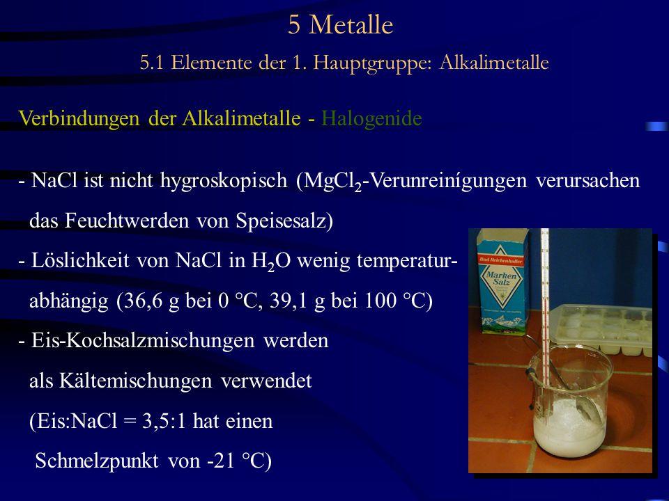 5 Metalle 5.1 Elemente der 1. Hauptgruppe: Alkalimetalle Verbindungen der Alkalimetalle - Halogenide - NaCl ist nicht hygroskopisch (MgCl 2 -Verunrein
