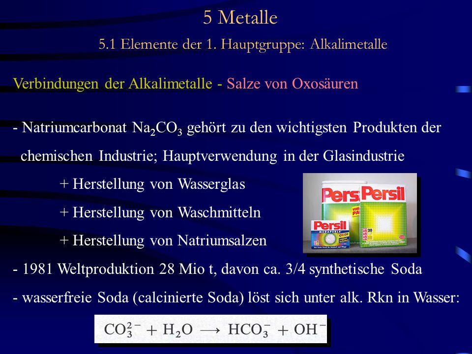 5 Metalle 5.1 Elemente der 1. Hauptgruppe: Alkalimetalle Verbindungen der Alkalimetalle - Salze von Oxosäuren - Natriumcarbonat Na 2 CO 3 gehört zu de