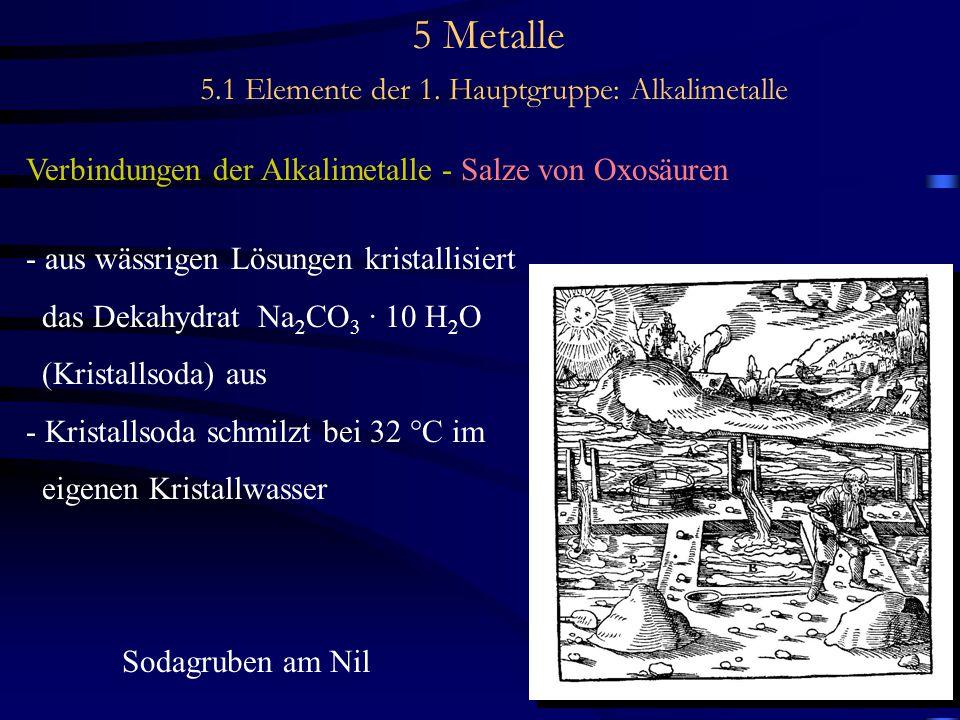 5 Metalle 5.1 Elemente der 1. Hauptgruppe: Alkalimetalle Verbindungen der Alkalimetalle - Salze von Oxosäuren - aus wässrigen Lösungen kristallisiert