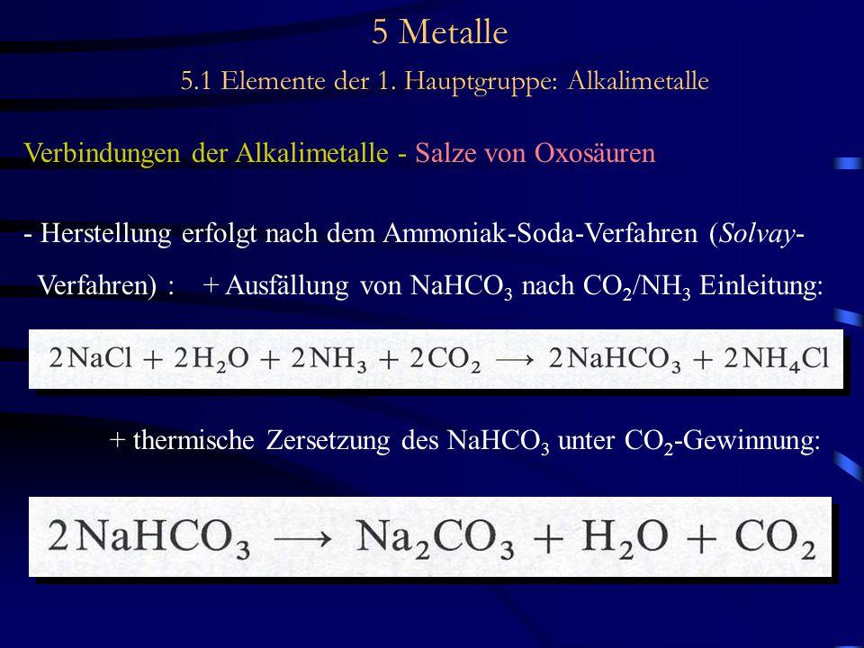 5 Metalle 5.1 Elemente der 1. Hauptgruppe: Alkalimetalle Verbindungen der Alkalimetalle - Salze von Oxosäuren - Herstellung erfolgt nach dem Ammoniak-