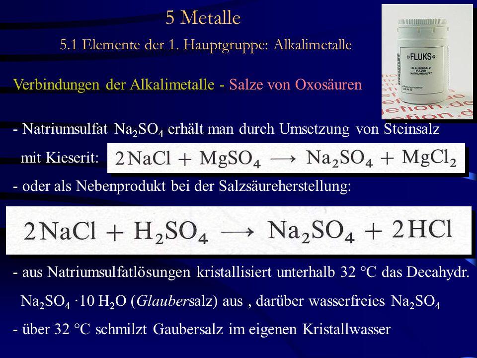 5 Metalle 5.1 Elemente der 1. Hauptgruppe: Alkalimetalle Verbindungen der Alkalimetalle - Salze von Oxosäuren - Natriumsulfat Na 2 SO 4 erhält man dur