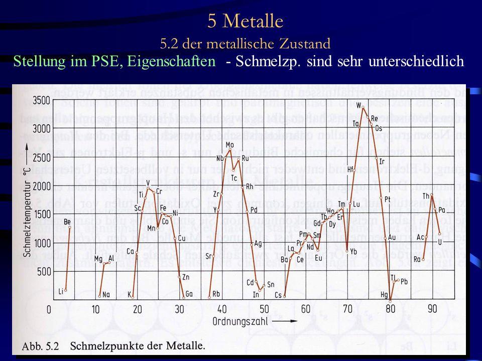 5 Metalle 5.2 der metallische Zustand Stellung im PSE, Eigenschaften - Schmelzp. sind sehr unterschiedlich